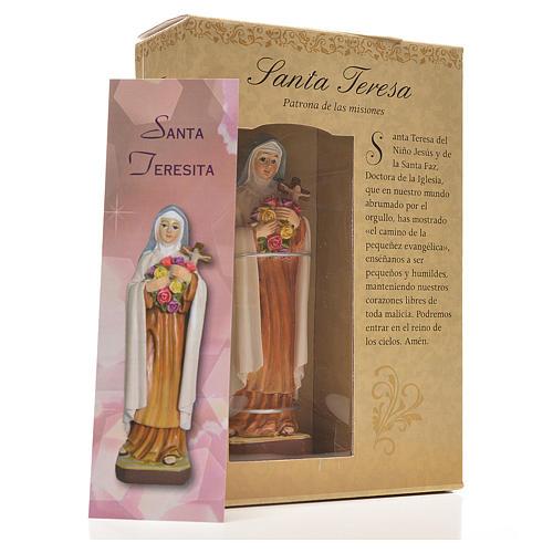Santa Teresita 12cm con imagen y oración en Español 3