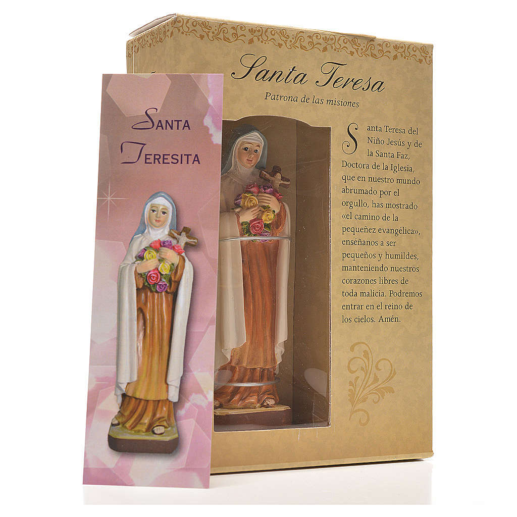 Santa Teresina 12 cm con immaginetta PREGHIERA SPAGNOLO 4