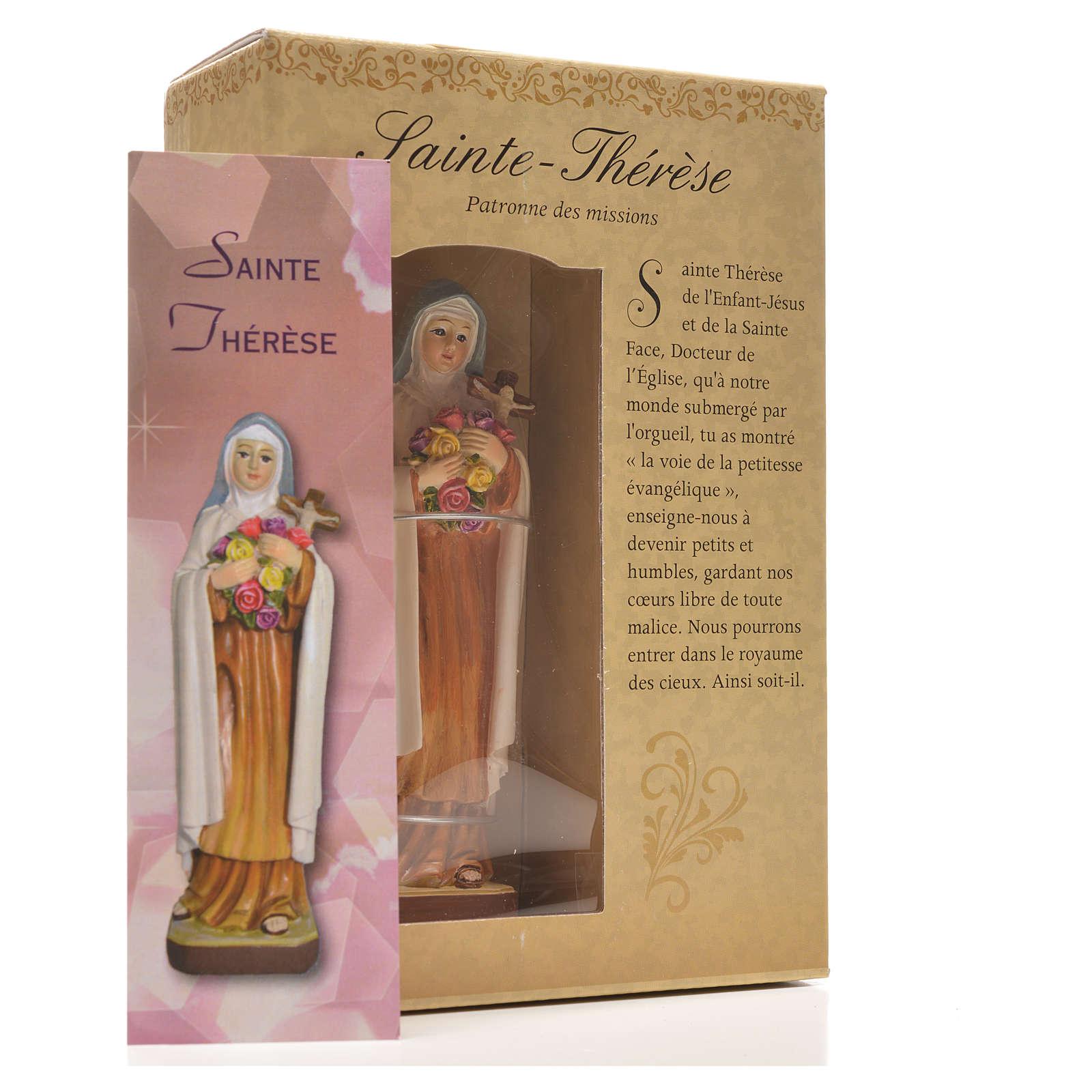Santa Teresita 12cm con imagen y oración en Francés 4