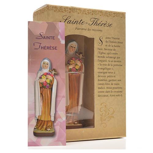 Santa Teresita 12cm con imagen y oración en Francés 3