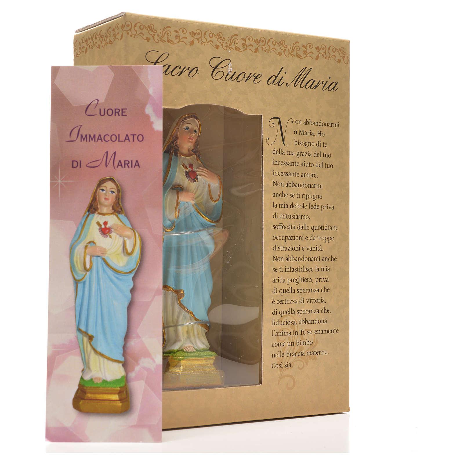 Sacro Cuore di Maria 12 cm con immaginetta PREGHIERA ITALIANO 4