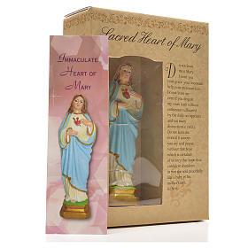 Sacro Cuore di Maria 12 cm con immaginetta PREGHIERA INGLESE s3