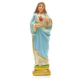Imagens em Resina e PVC: Sagrado Coração de Maria 12 cm com marcador ORAÇÃO INGLÊS
