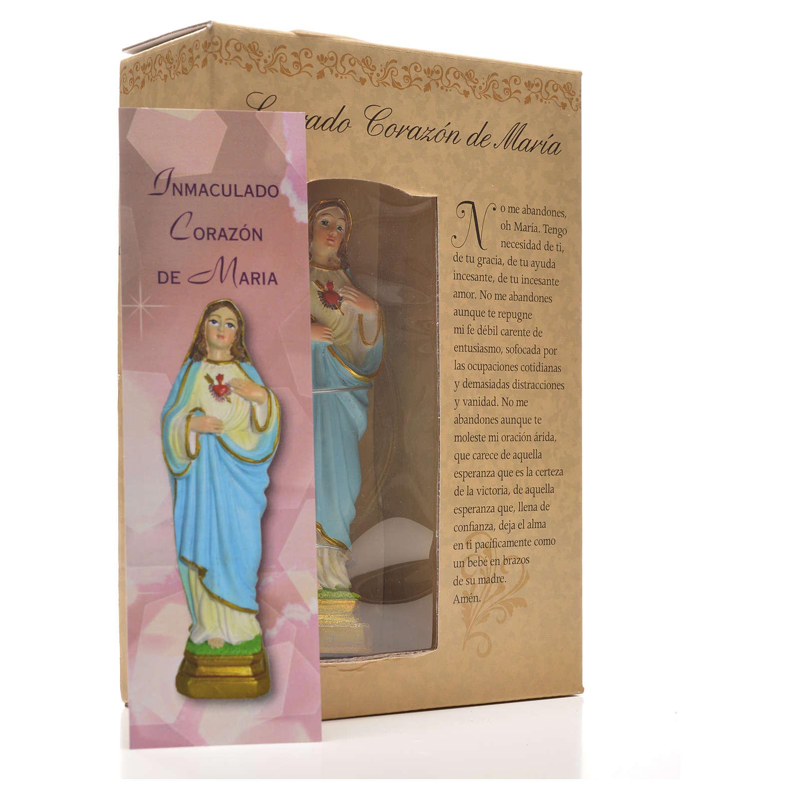 Sacro Cuore di Maria 12 cm con immaginetta PREGHIERA SPAGNOLO 4