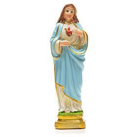 Imagens em Resina e PVC: Sagrado Coração de Maria 12 cm com marcador ORAÇÃO FRANCÊS