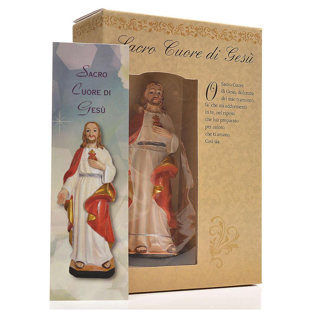 Sacro Cuore di Gesù 12 cm con immaginetta PREGHIERA ITALIANO 4