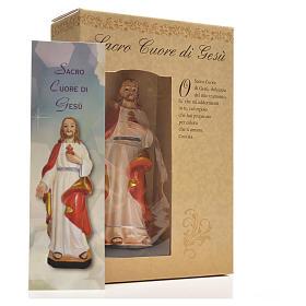 Sacro Cuore di Gesù 12 cm con immaginetta PREGHIERA ITALIANO s6