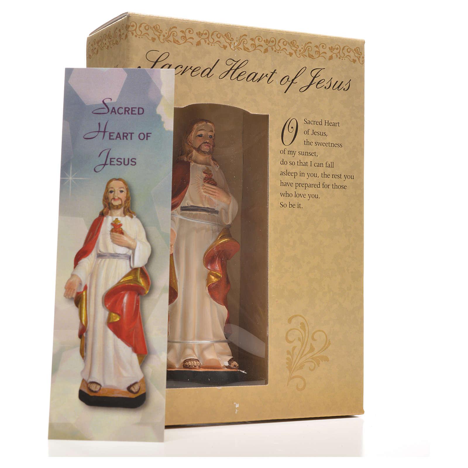 Sagrado Corazón de Jesús 12cm con imagen y oración en Ingles 4