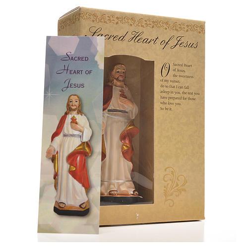 Sagrado Corazón de Jesús 12cm con imagen y oración en Ingles 3