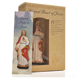Figurka święte Serce Jezusa z obrazkiem z modlitwą po angielsku s3
