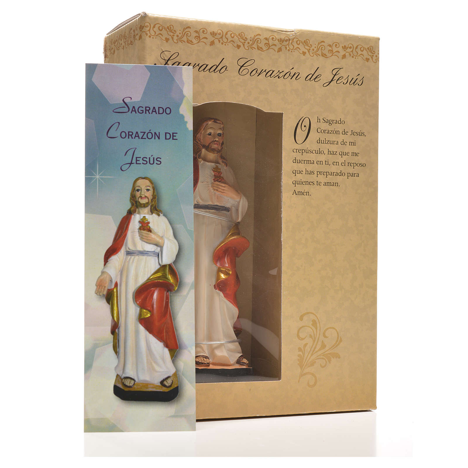 Sacro Cuore di Gesù 12 cm con immaginetta PREGHIERA SPAGNOLO 4