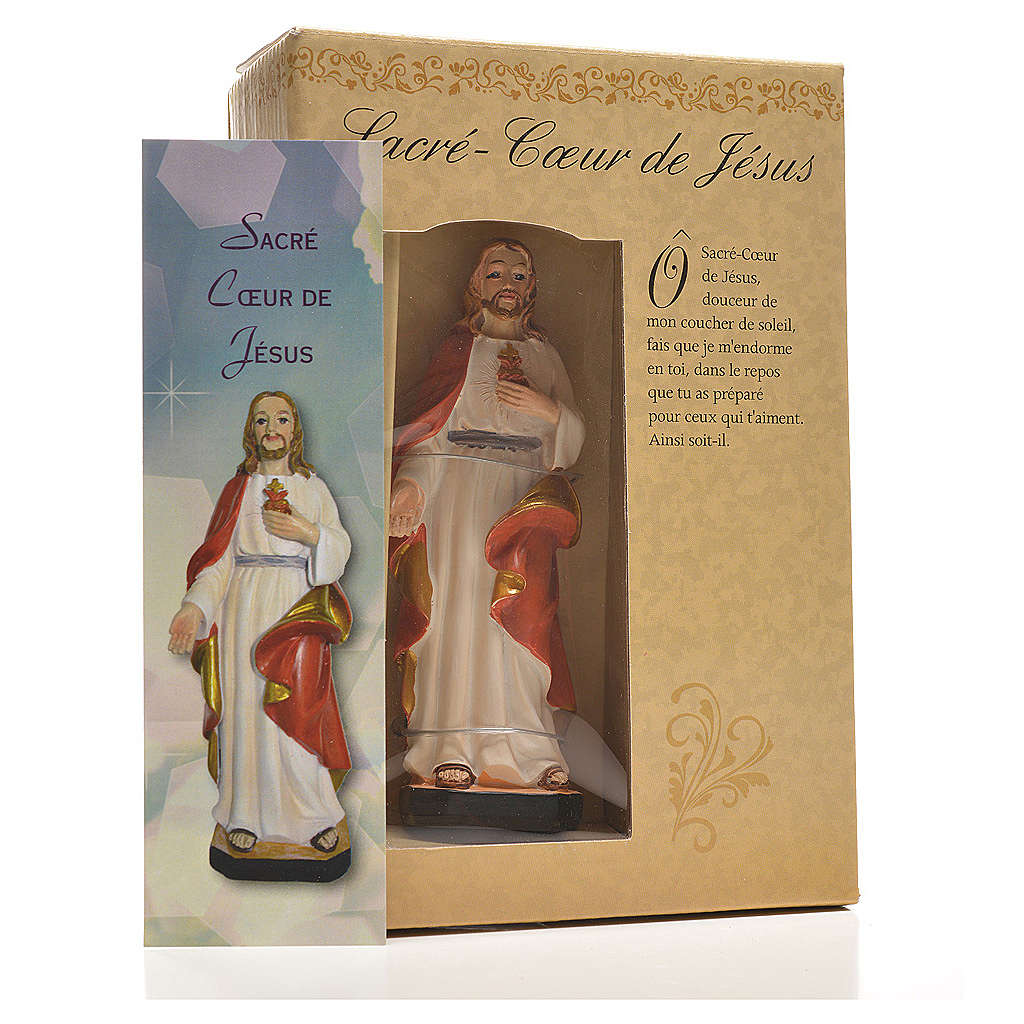 Sacred Heart of Jesus 12cm with image and FRENCH PRAYER 4