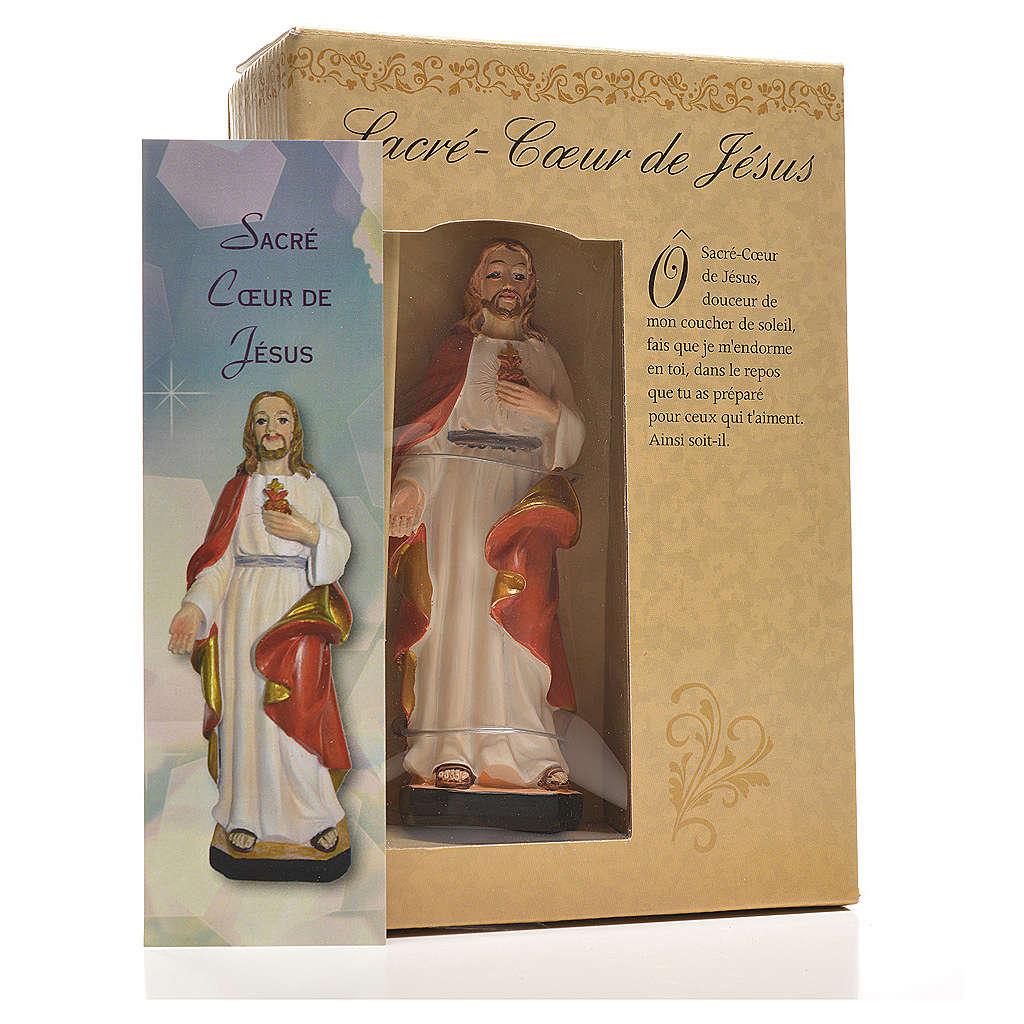 Sagrado Corazón de Jesús 12cm con imagen y oración en Francés 4