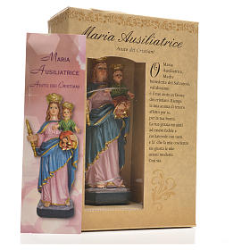 Mary Help of Christians 12cm with image and ITALIAN PRAYER s6