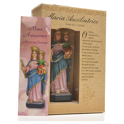 Mary Help of Christians 12cm with image and ITALIAN PRAYER 3