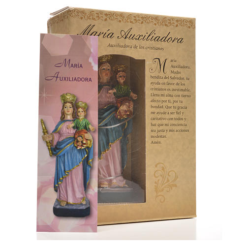María Auxiliadora 12cm con imagen y oración en Español 12