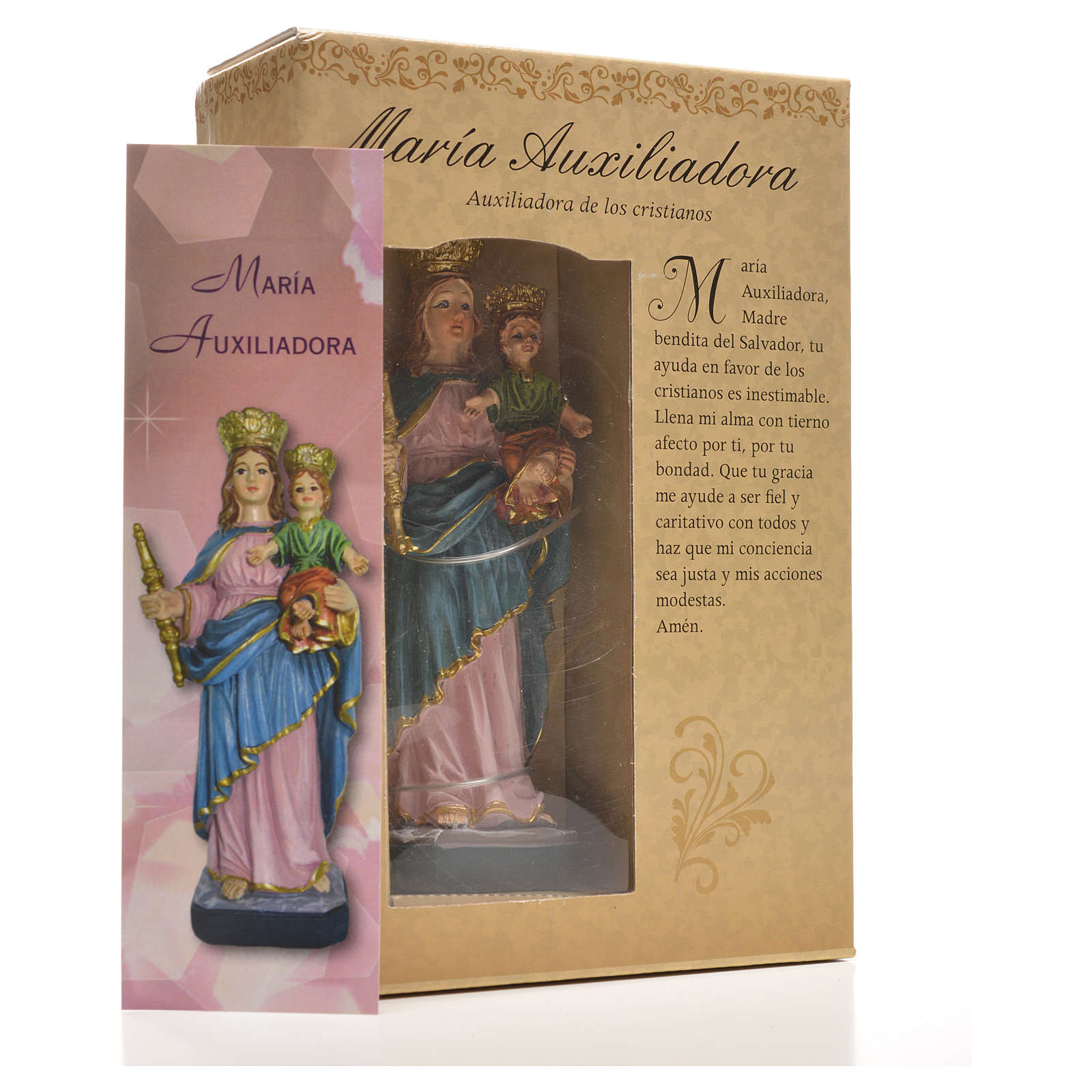Mary Help of Christians 12cm with image and SPANISH PRAYER 4