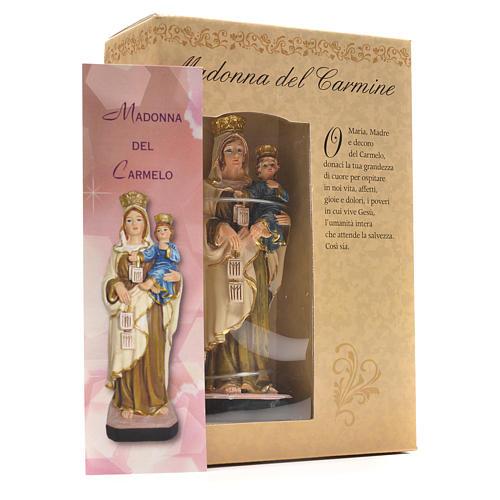 Madonna del Carmine 12 cm con immaginetta PREGHIERA ITALIANO 3