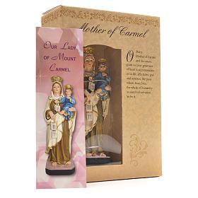 Madonna del Carmine 12 cm con immaginetta PREGHIERA INGLESE s3