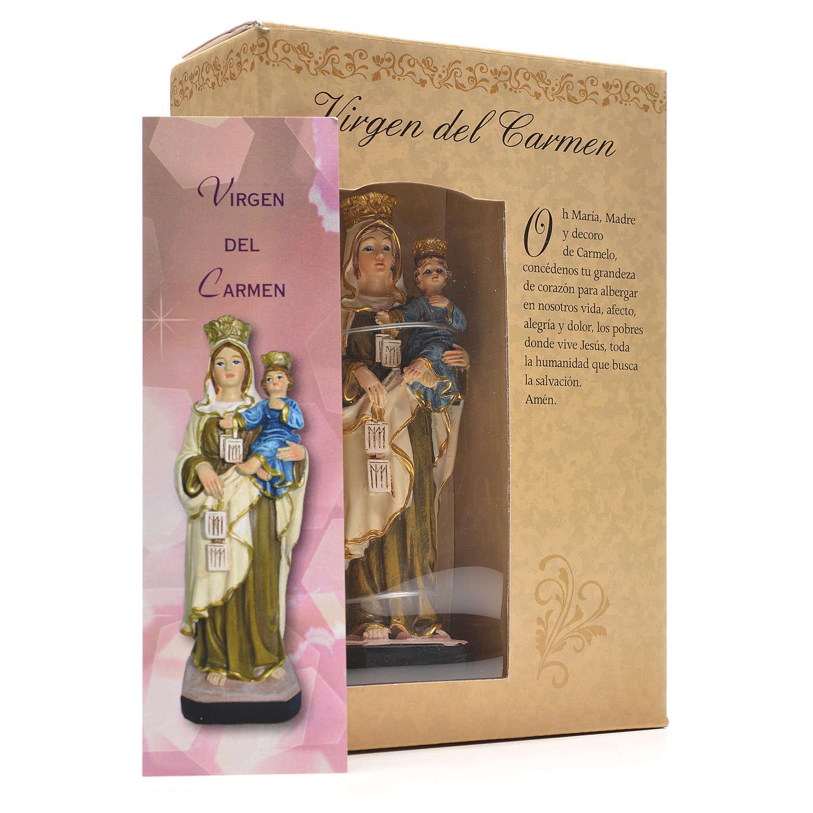 Madonna del Carmine 12 cm con immaginetta PREGHIERA SPAGNOLO 4