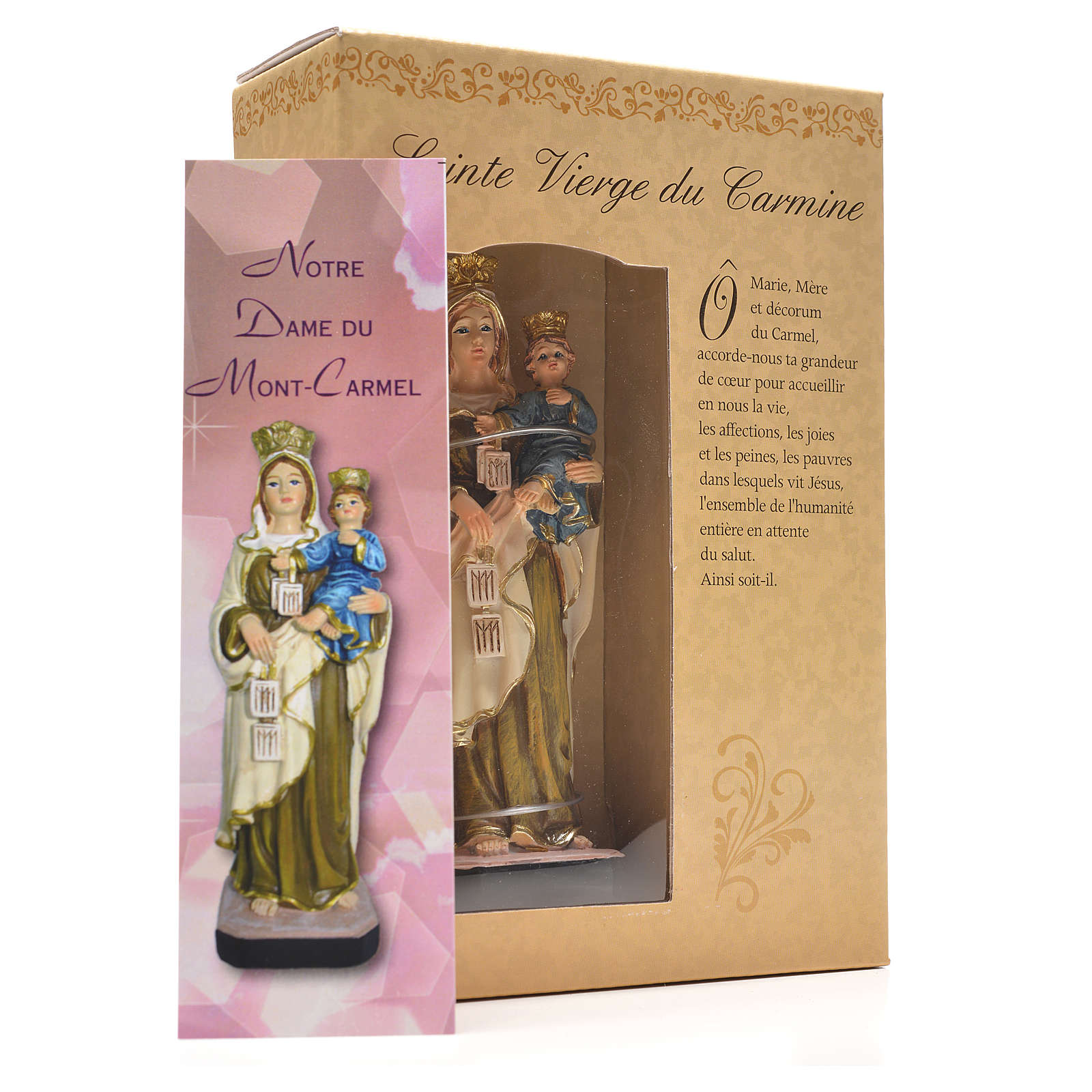 Virgen del Carmen 12cm con imagen y oración en Francés 4