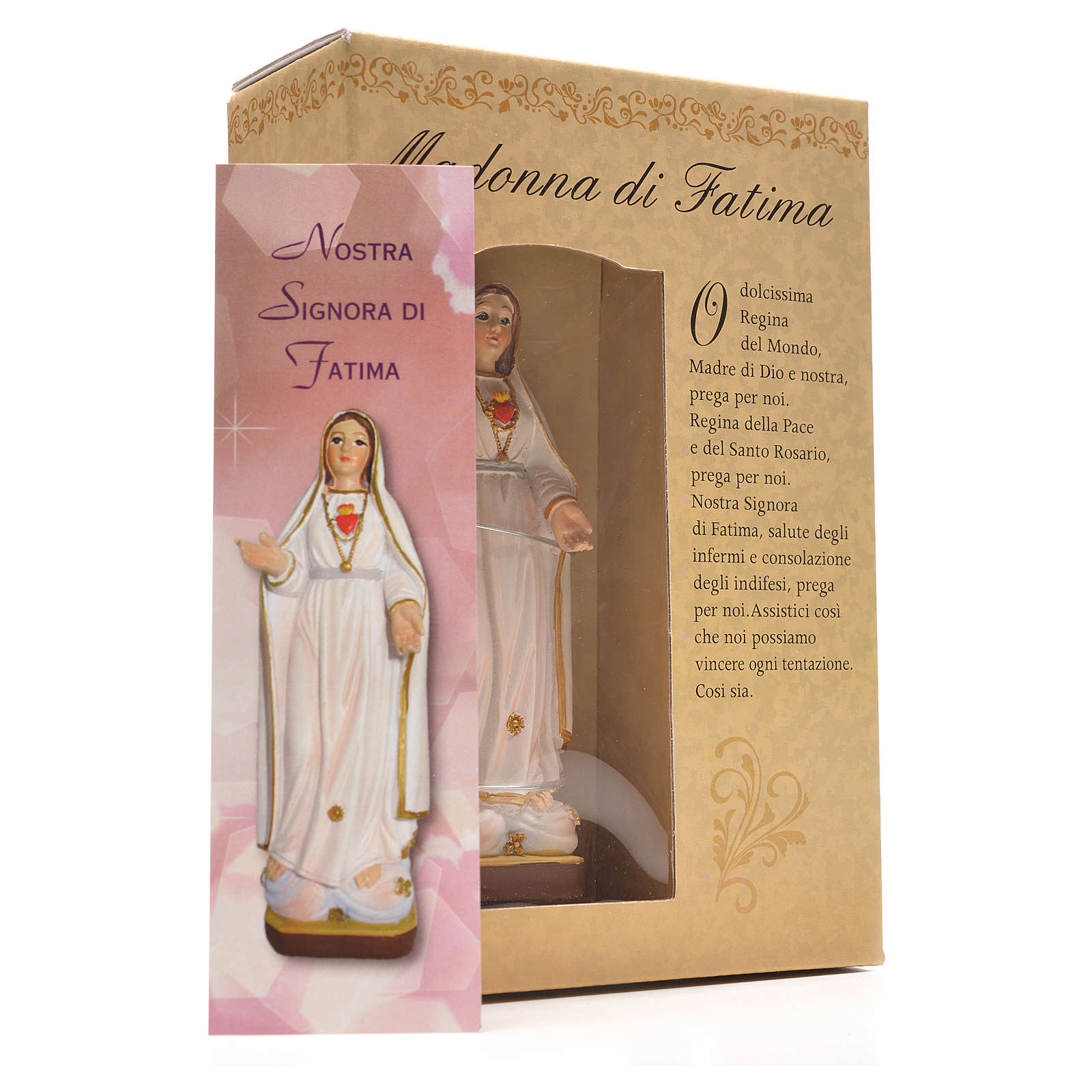 Madonna di Fatima 12 cm con immaginetta PREGHIERA ITALIANO 4