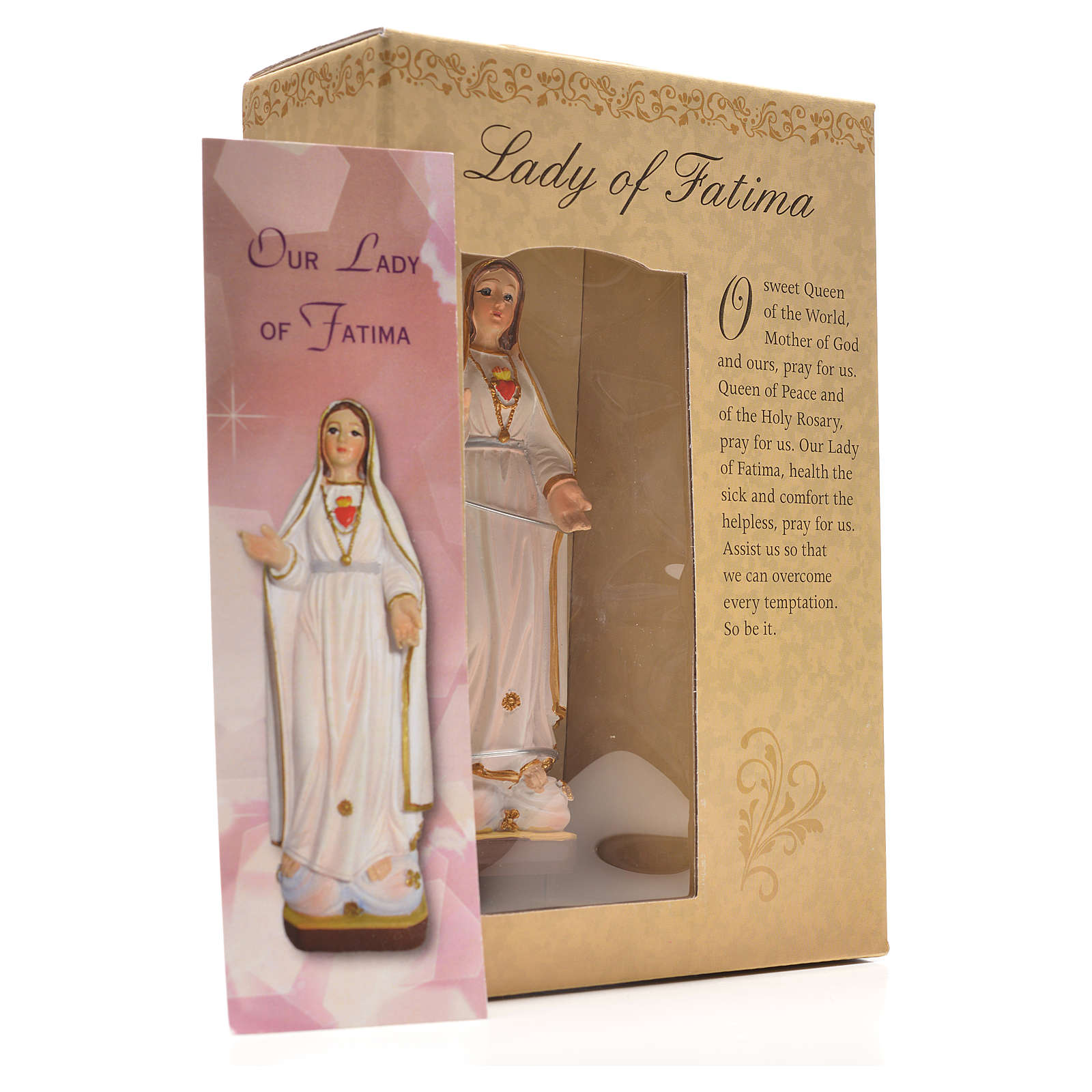 Nuestra Señora de Fátima 12cm con imagen y oración en Ingles 4