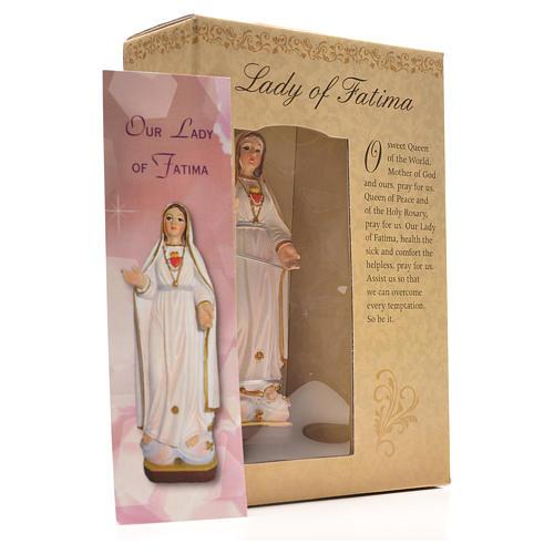 Nuestra Señora de Fátima 12cm con imagen y oración en Ingles 3