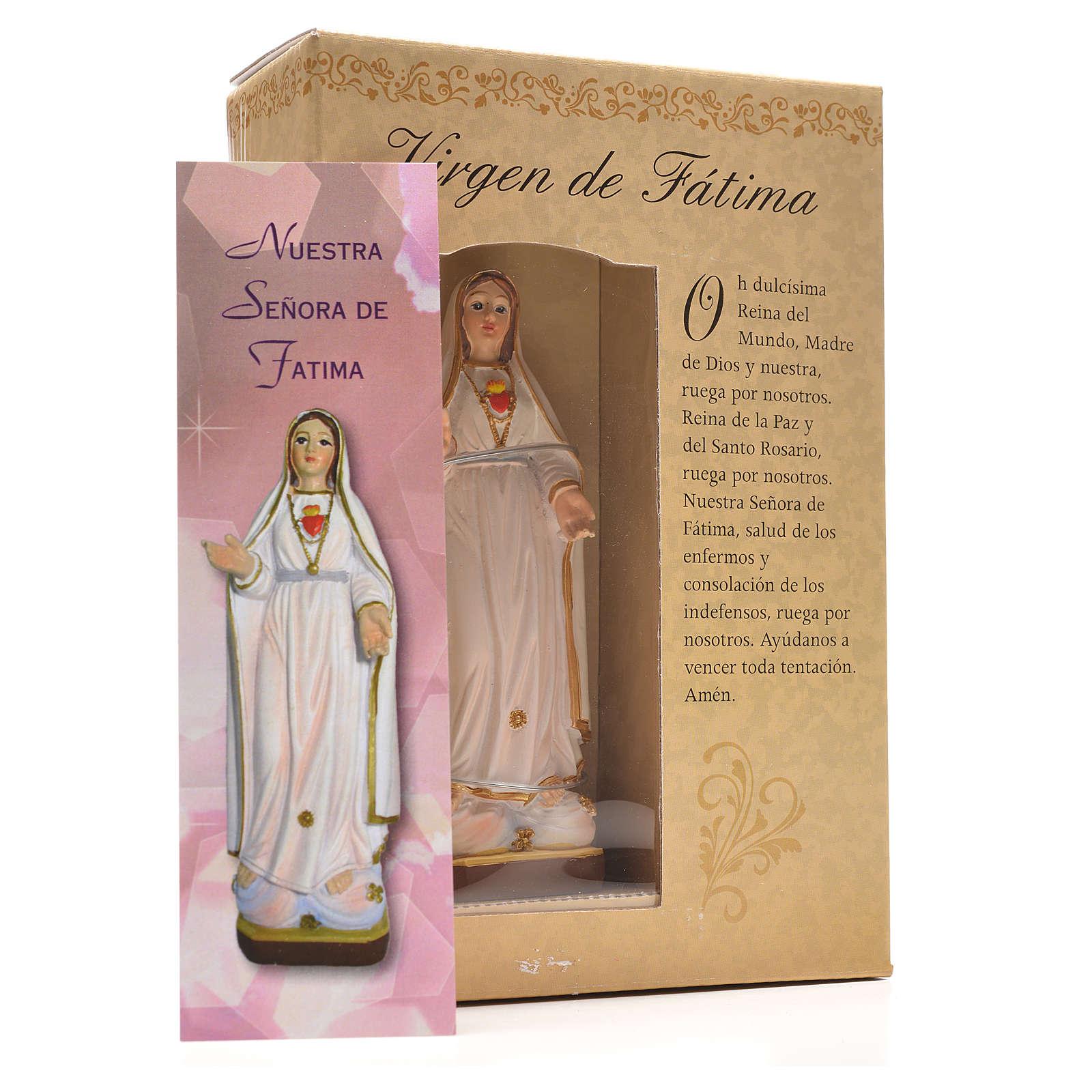 Nuestra Señora de Fátima 12cm con imagen y oración en Español 4