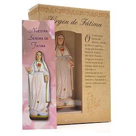 Nuestra Señora de Fátima 12cm con imagen y oración en Español s3