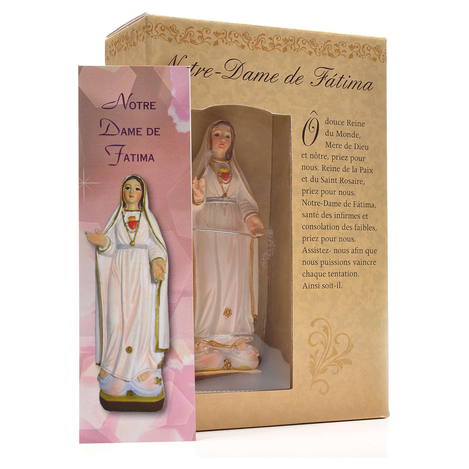 Nuestra Señora de Fátima 12cm con imagen y oración en Francés 4