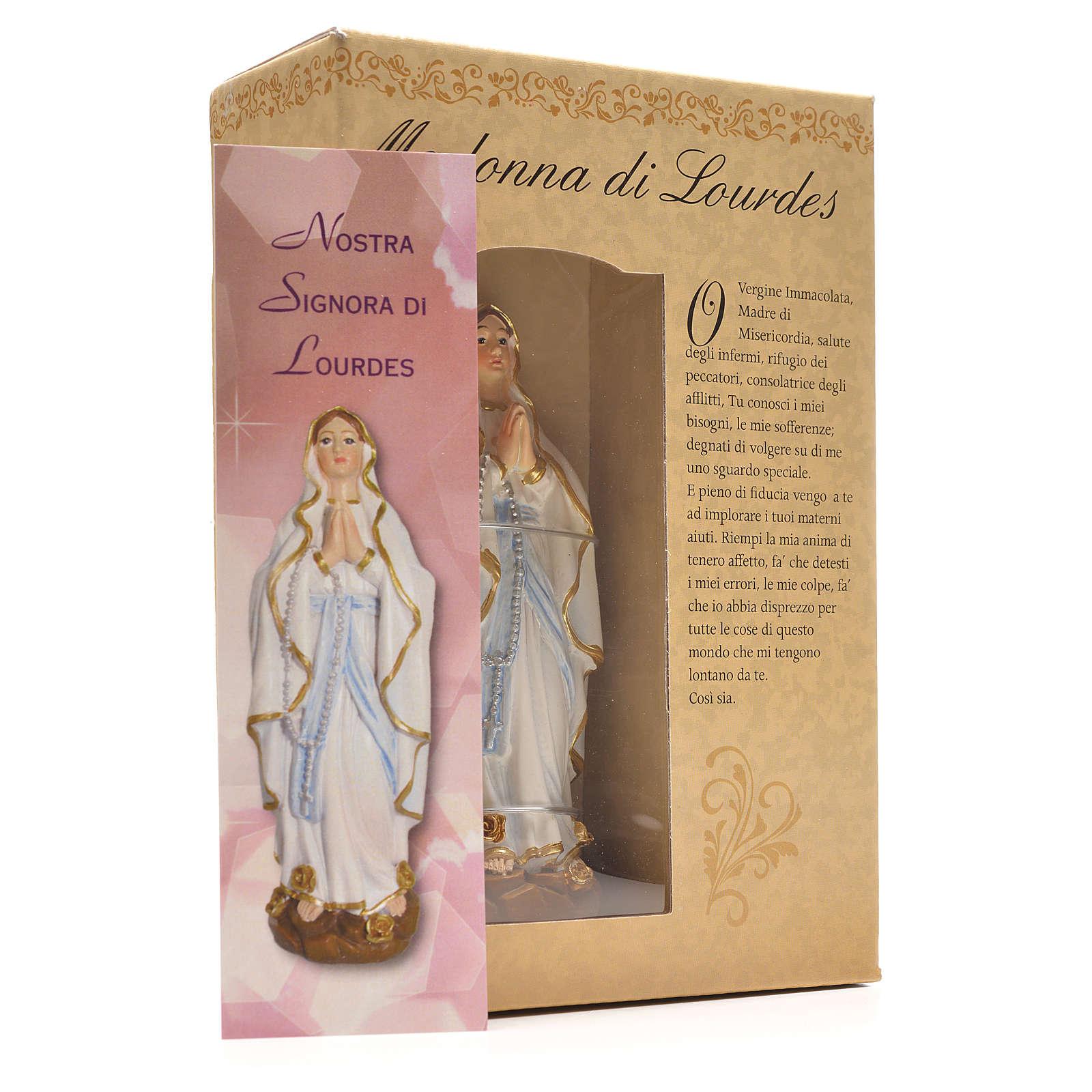 Madonna di Lourdes 12 cm con immaginetta PREGHIERA ITALIANO 4