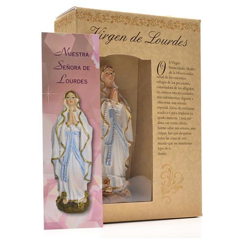 Nuestra Señora de Lourdes 12cm con imagen y oración en Español 3