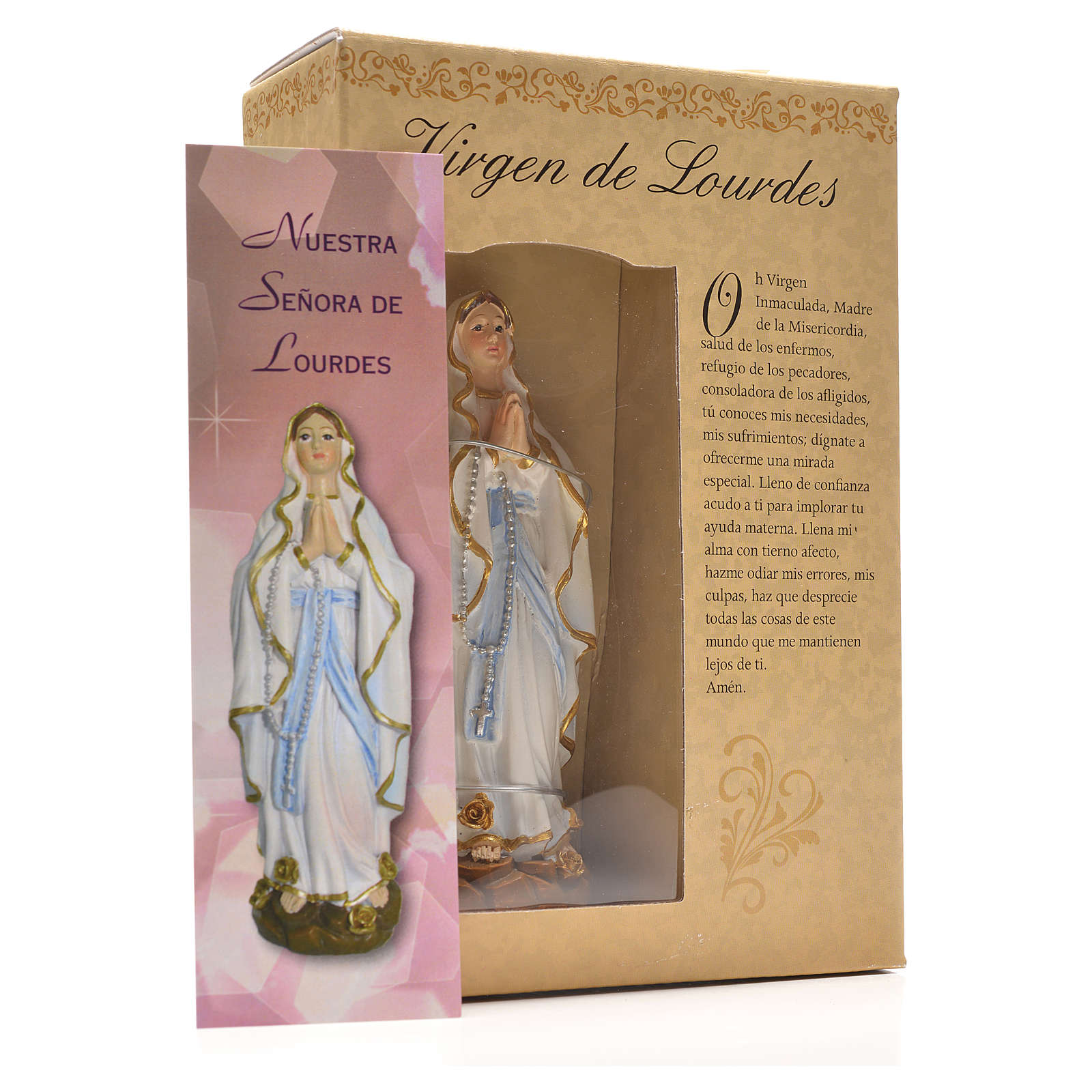 Our Lady of Lourdes 12cm with Spanish prayer 4