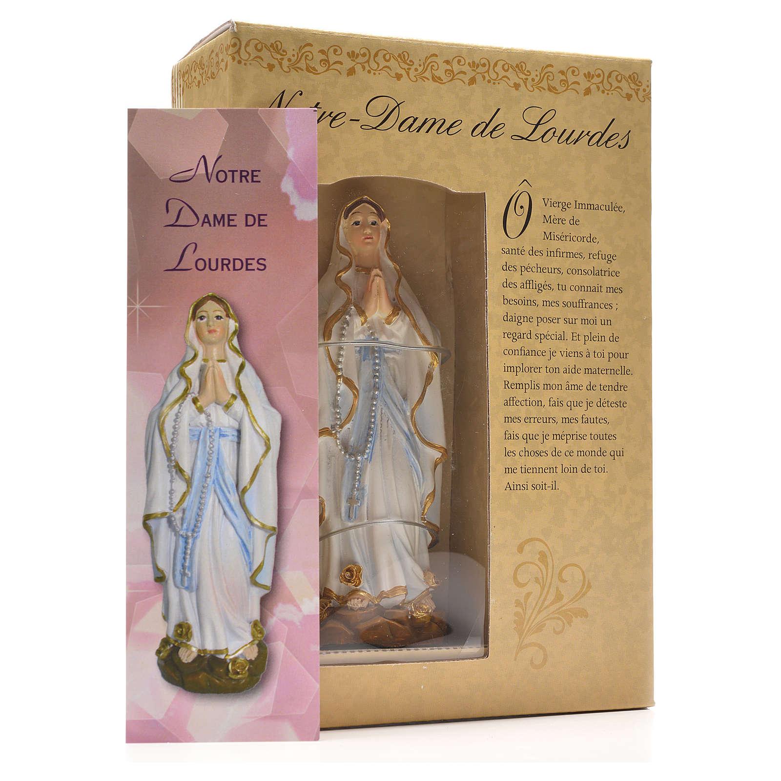 Madonna di Lourdes 12 cm con immaginetta PREGHIERA FRANCESE 4
