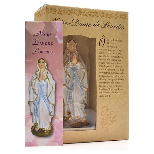Madonna di Lourdes 12 cm con immaginetta PREGHIERA FRANCESE 3