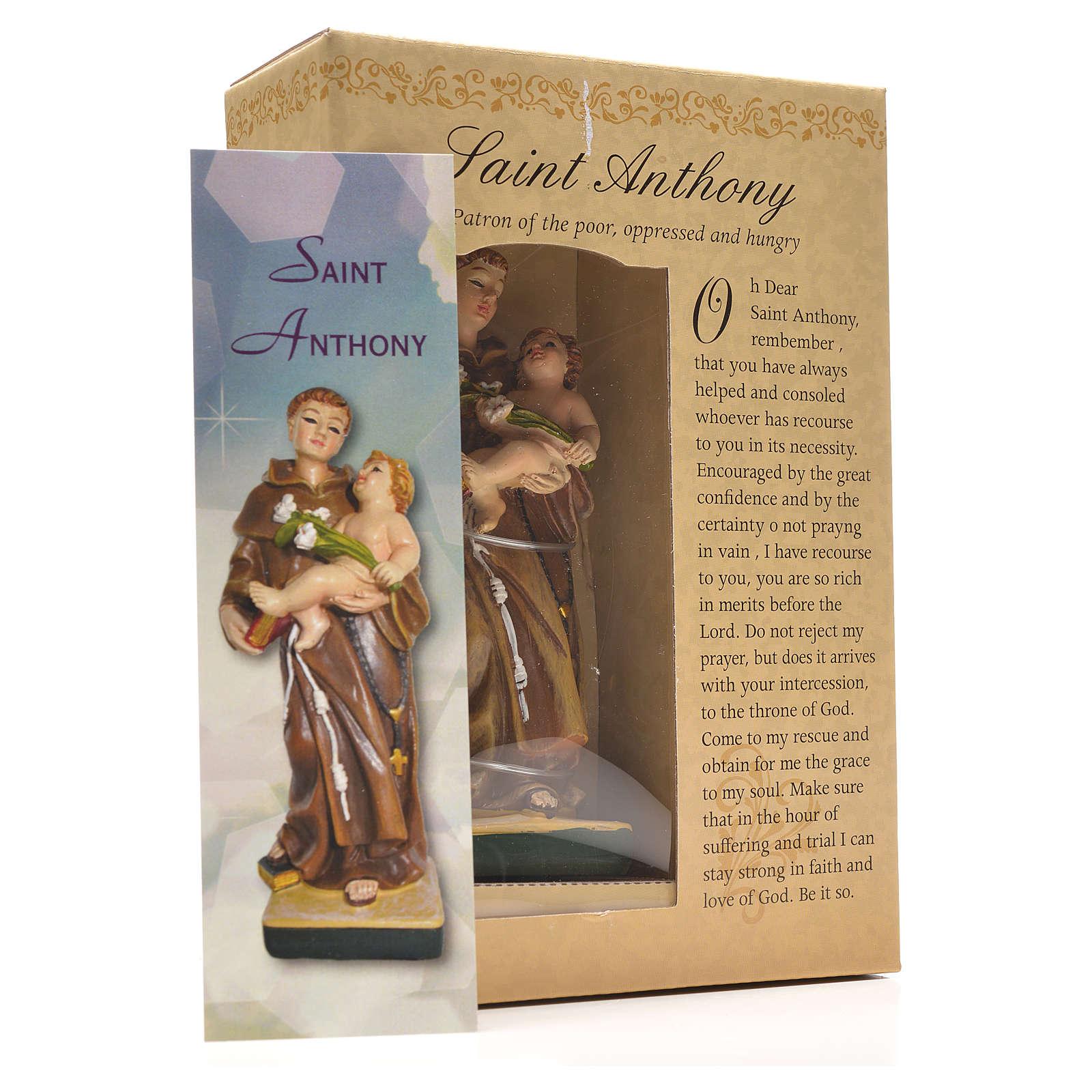 San Antonio de Padua 12cm con imagen y oración en Ingles 4