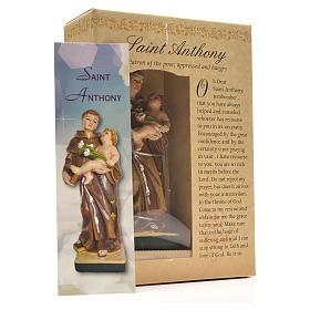 San Antonio de Padua 12cm con imagen y oración en Ingles s3