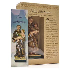 Sant'Antonio da Padova 12 cm con immaginetta PREGHIERA SPAGNOLO s3