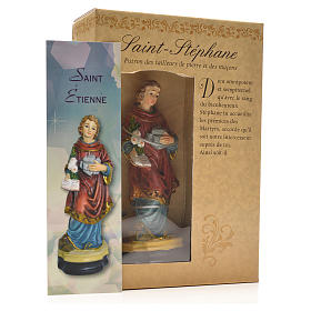 Santo Stefano 12 cm con immaginetta PREGHIERA FRANCESE s3
