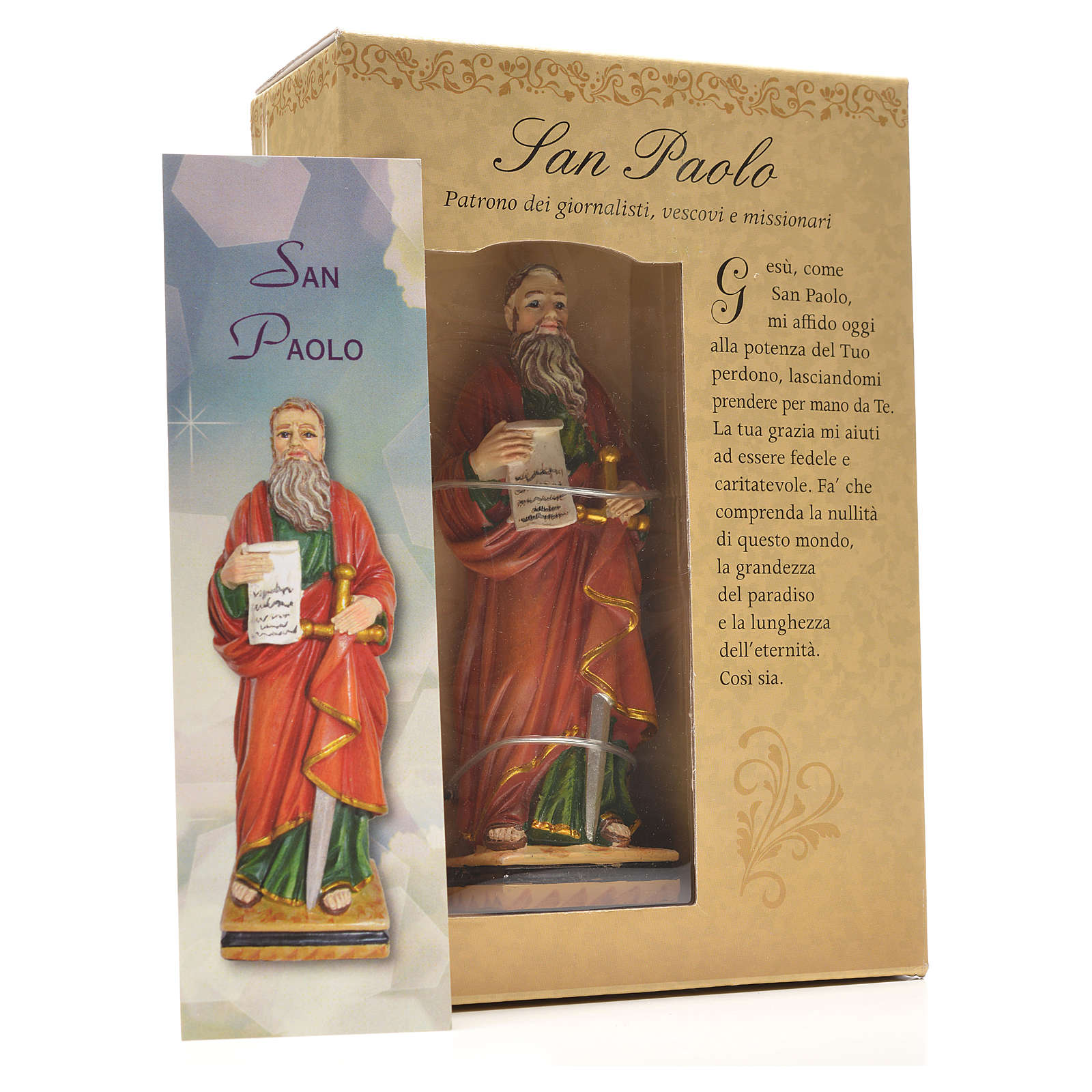 Figurka święty Paweł z obrazkiem z modlitwą po włosku 4