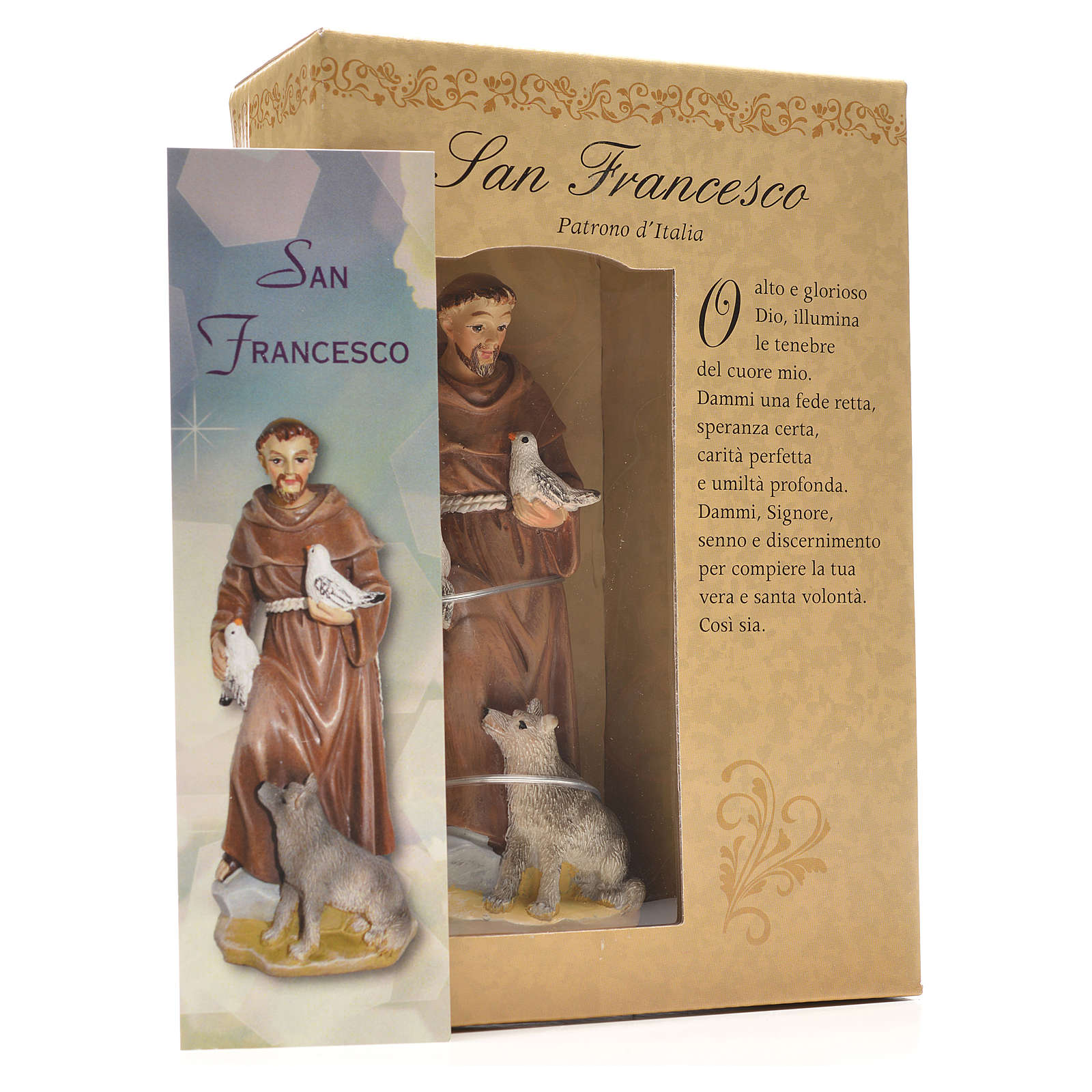 San Francisco de Asís 12cm con imagen y oración en Italiano 4