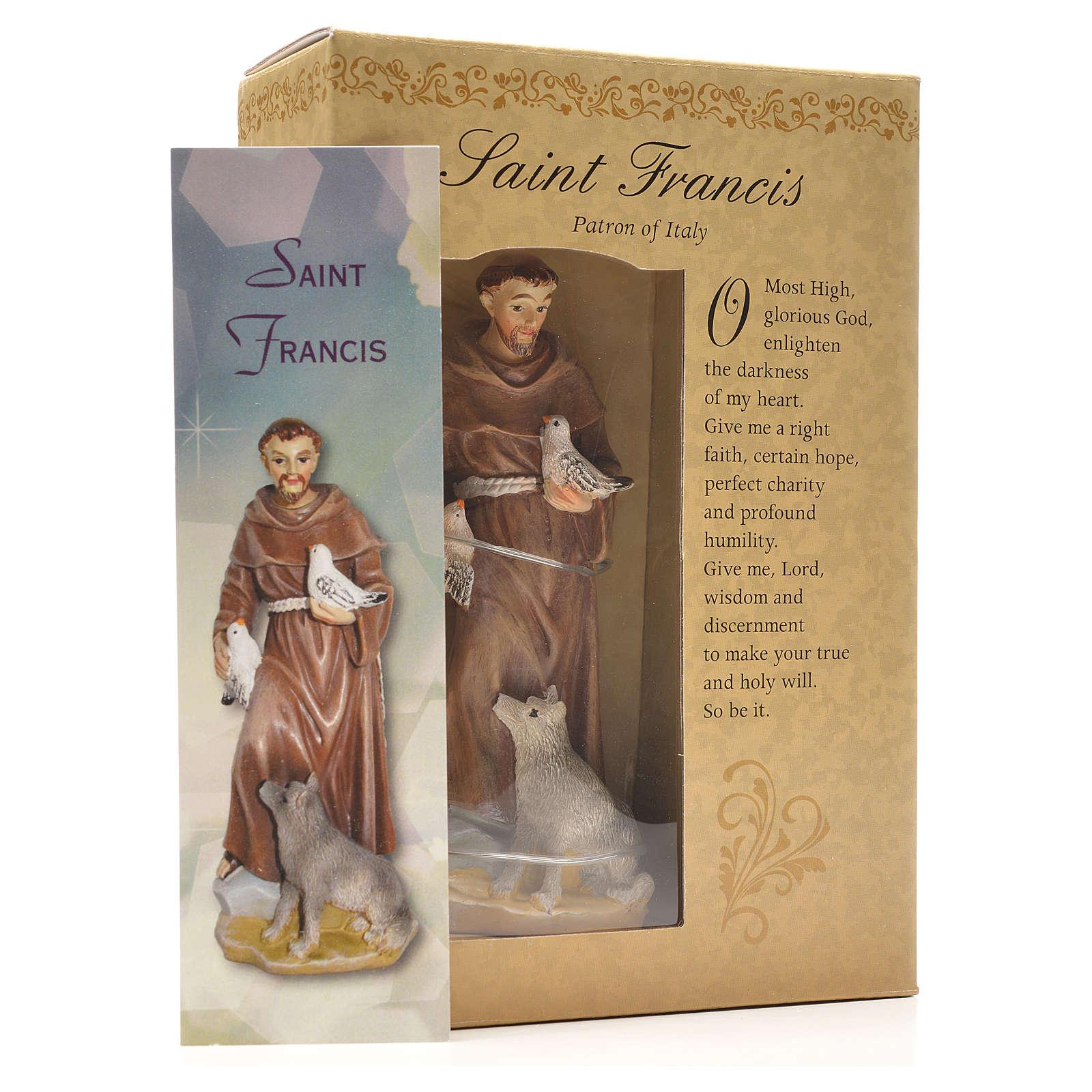 San Francesco d'Assisi 12 cm con immaginetta PREGHIERA INGLESE 4