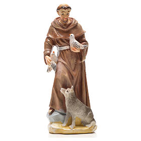 Statue in resina e PVC: San Francesco d'Assisi 12 cm con immaginetta PREGHIERA INGLESE