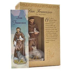 San Francesco d'Assisi 12 cm con immaginetta PREGHIERA SPAGNOLO s3