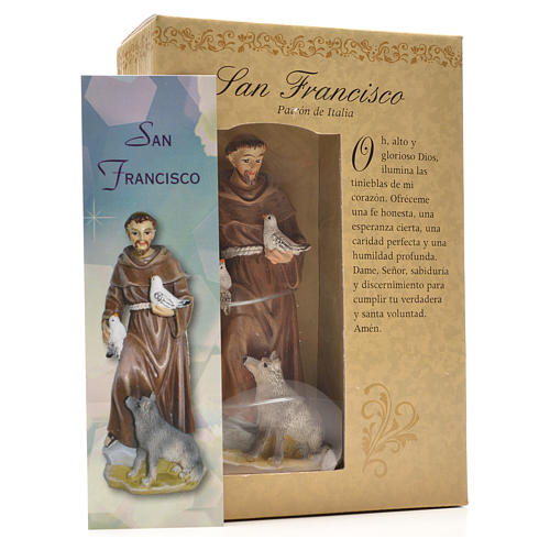 San Francesco d'Assisi 12 cm con immaginetta PREGHIERA SPAGNOLO 3