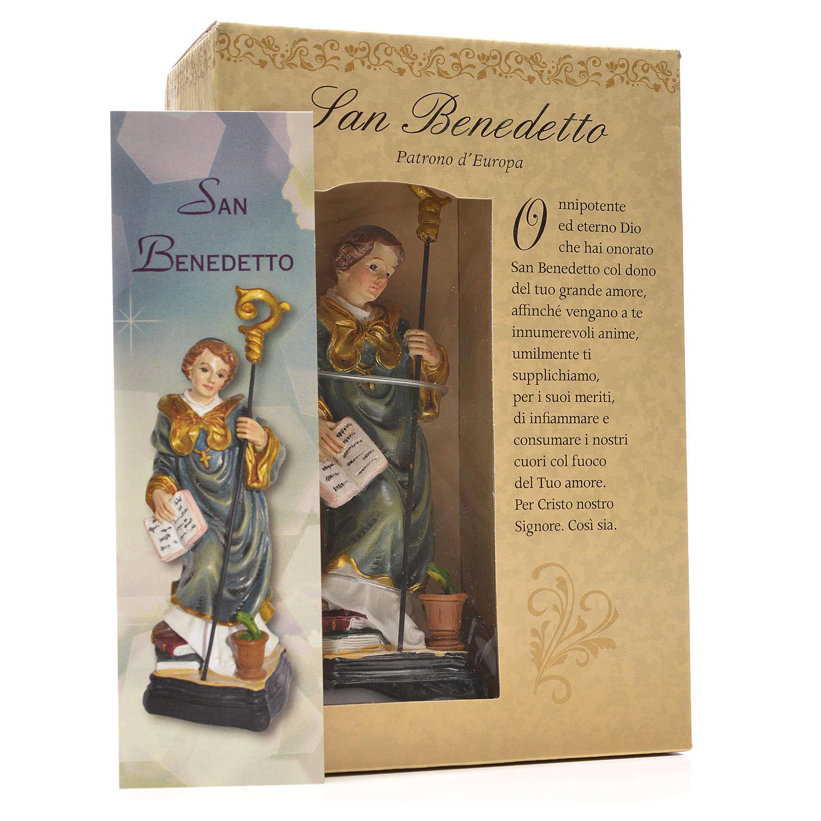San Benedetto 12 cm con immaginetta PREGHIERA ITALIANO 4