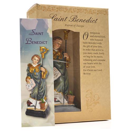 Saint Benoit 12cm image et prière en Anglais 3