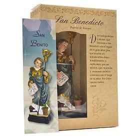San Benedetto 12 cm con immaginetta PREGHIERA SPAGNOLO s3