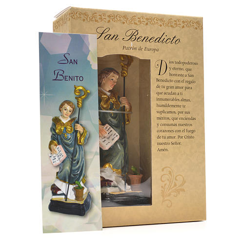 San Benedetto 12 cm con immaginetta PREGHIERA SPAGNOLO 3
